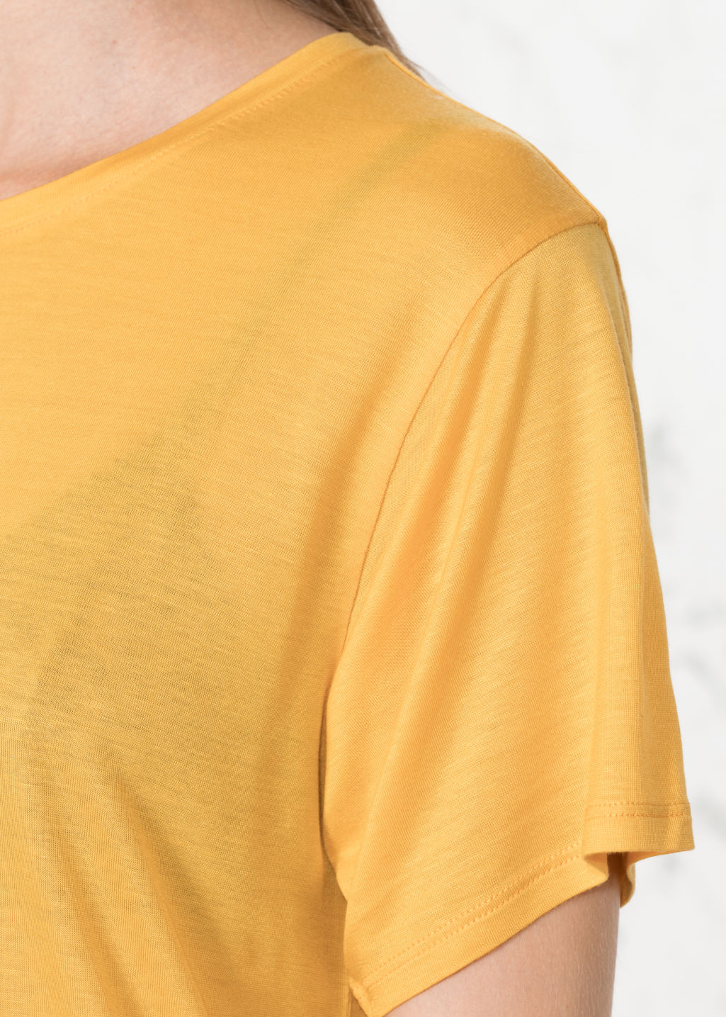 Detailed image of Stories relaxed fit jersey tee in yellow