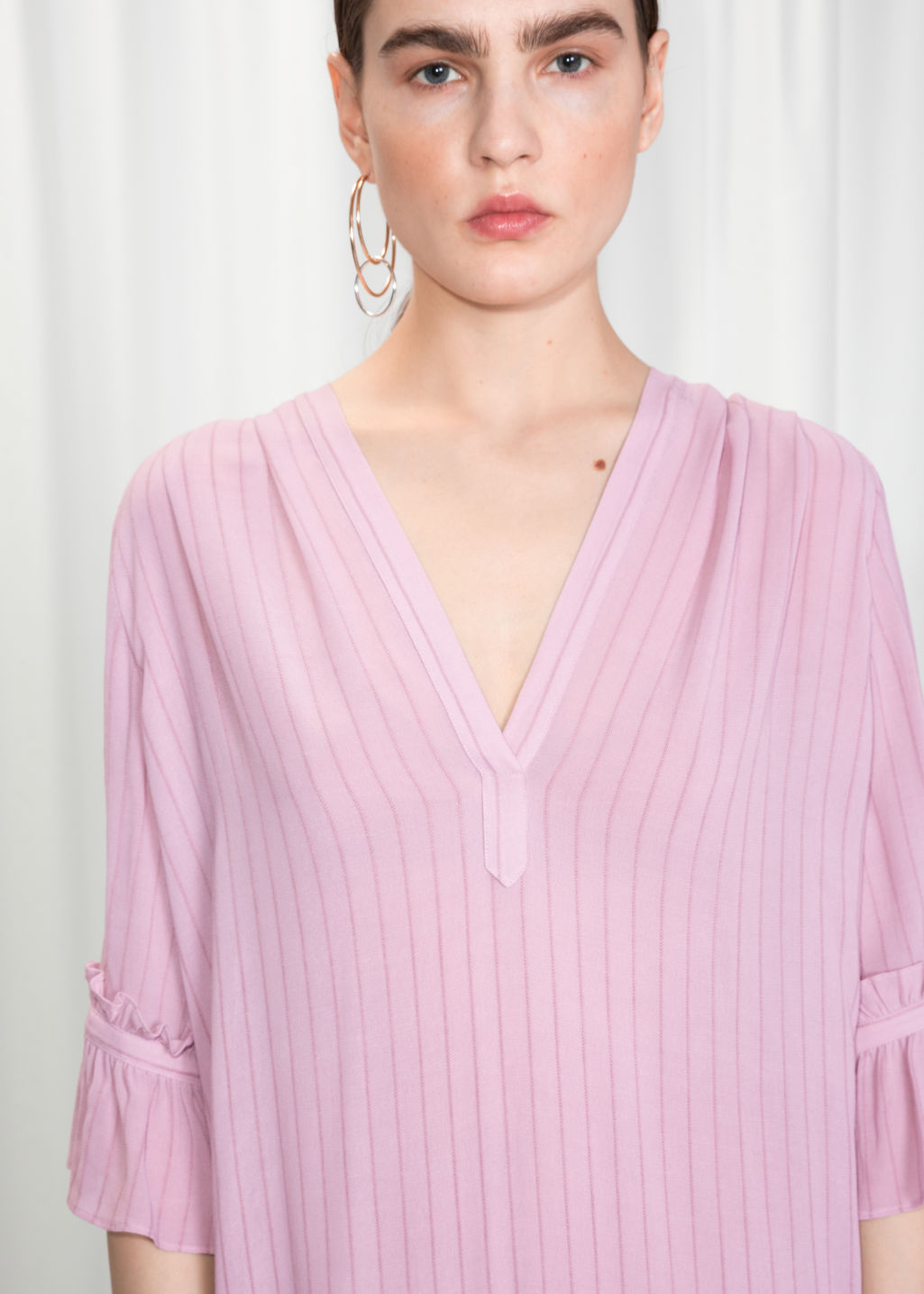 Detailed image of Stories frill sleeve shirt dress in pink