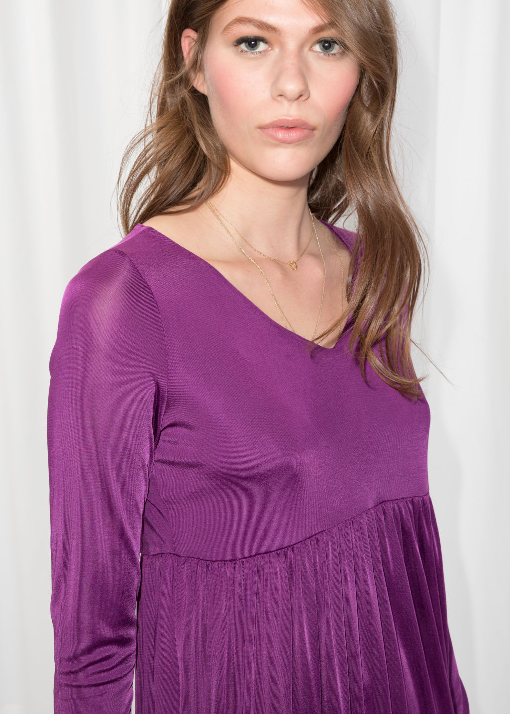 Detailed image of Stories midi dress in purple
