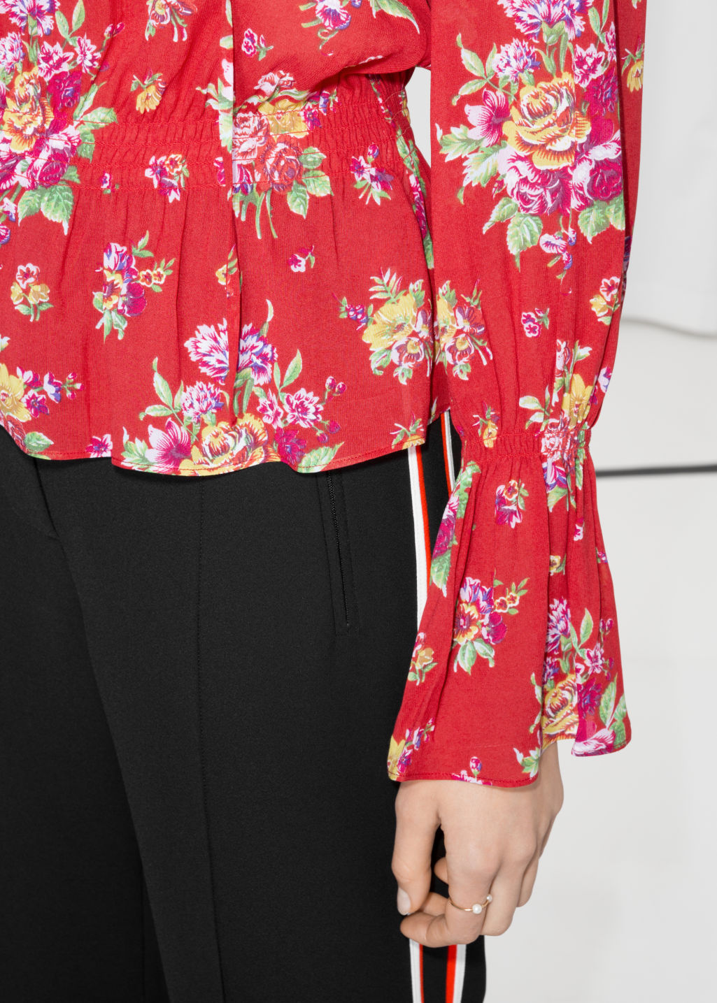 Detailed image of Stories bell sleeve blouse in red