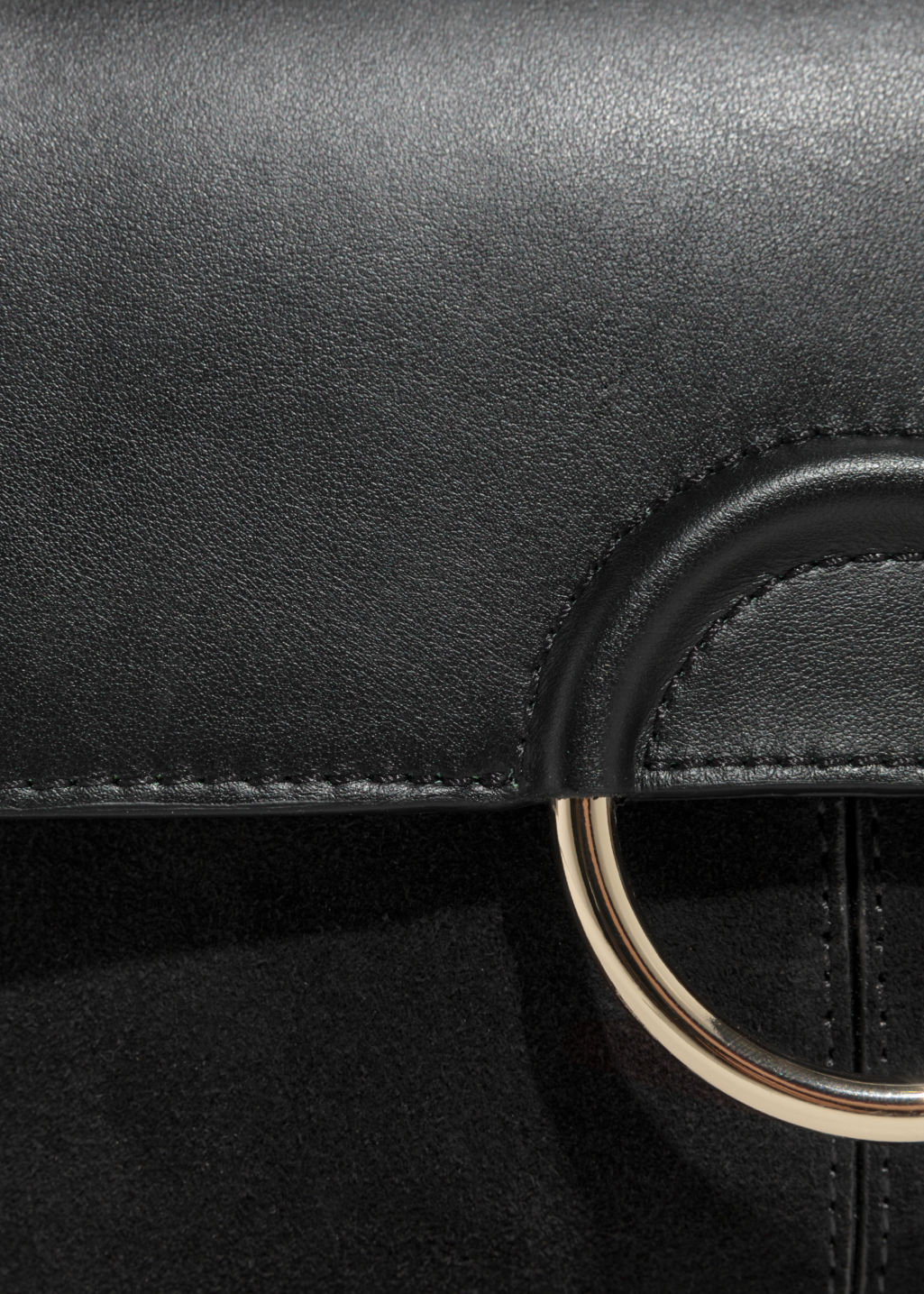 Detailed image of Stories exposed ring leather bag in black