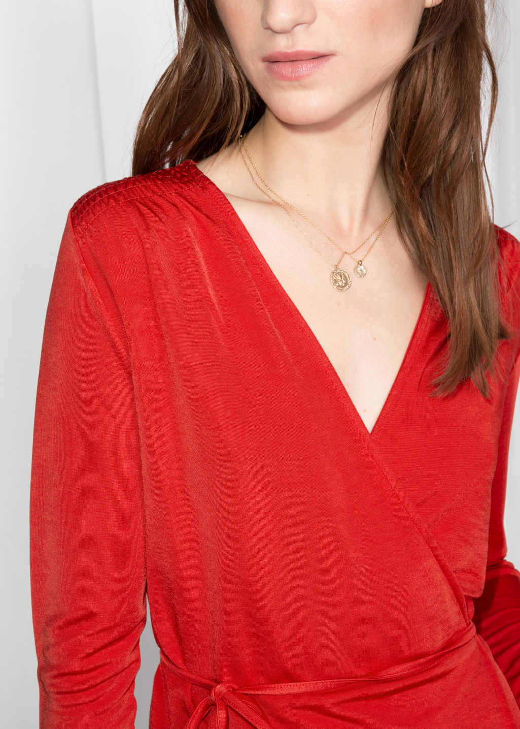 Detailed image of Stories wrap tie blouse  in red