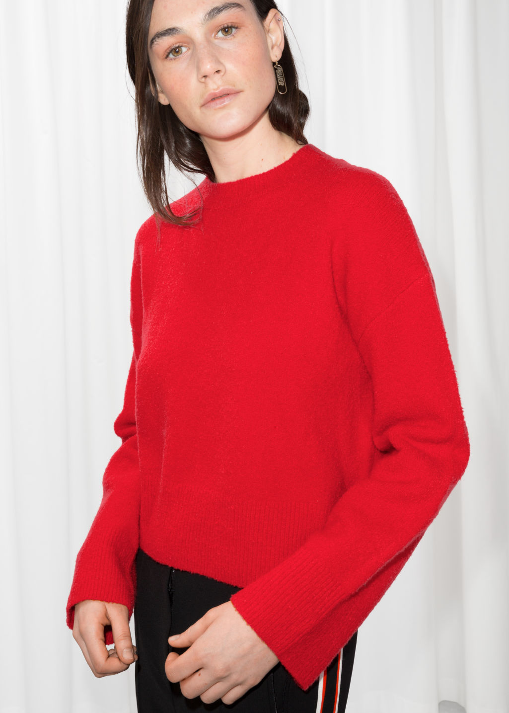 Detailed image of Stories cropped sweater  in red