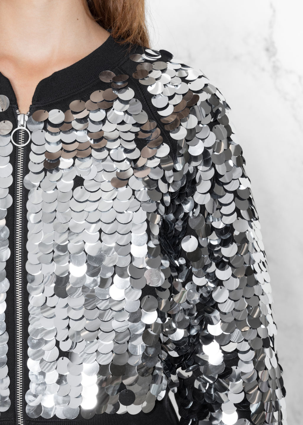 Detailed image of Stories sequin jacket in black