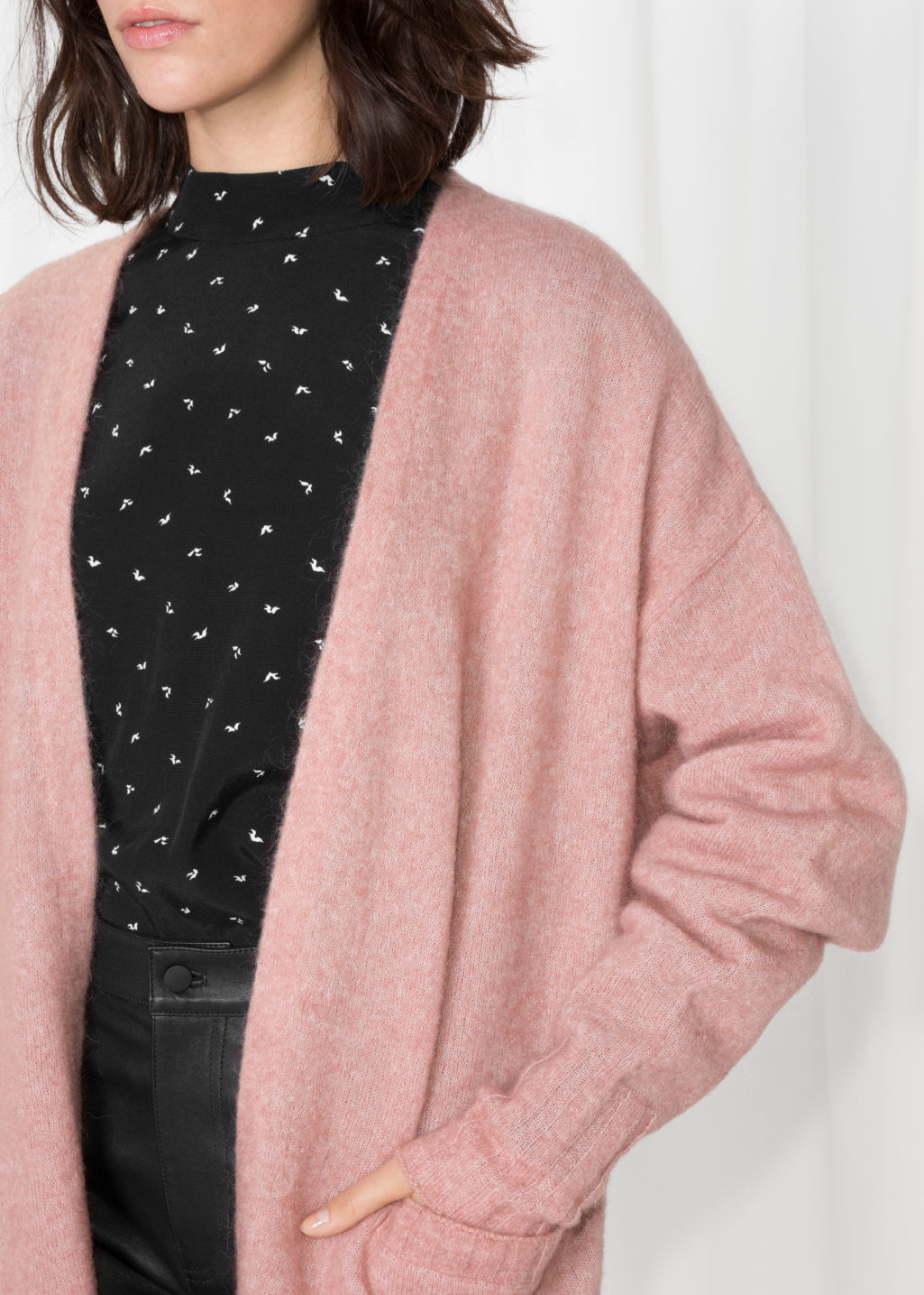 Detailed image of Stories mohair & wool oversized cardigan in pink