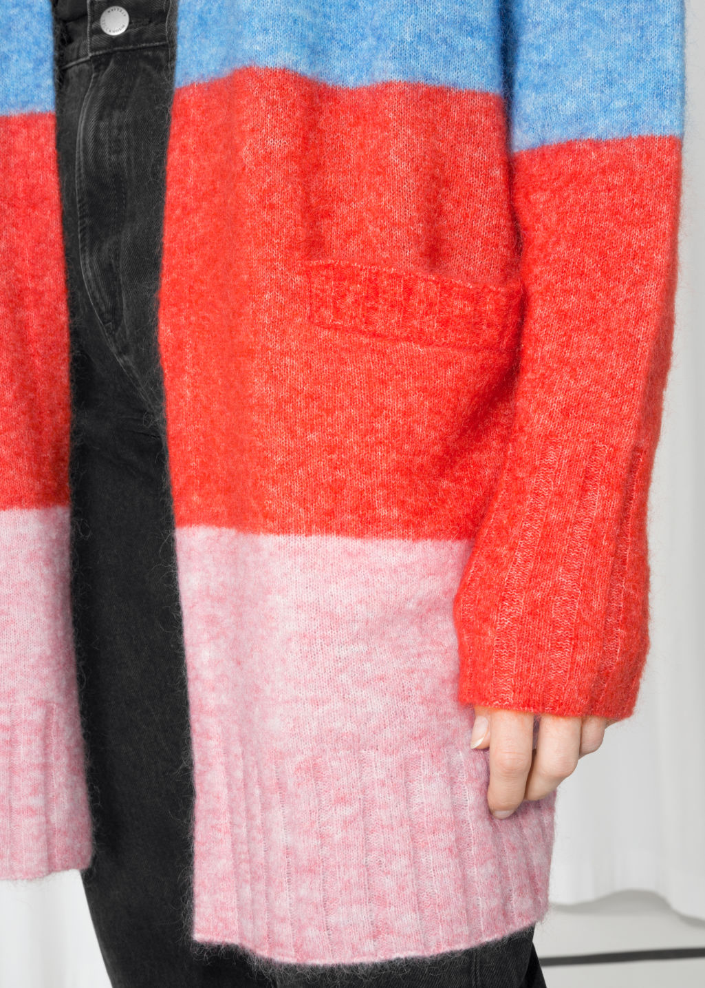Detailed image of Stories mohair & wool oversized cardigan in white