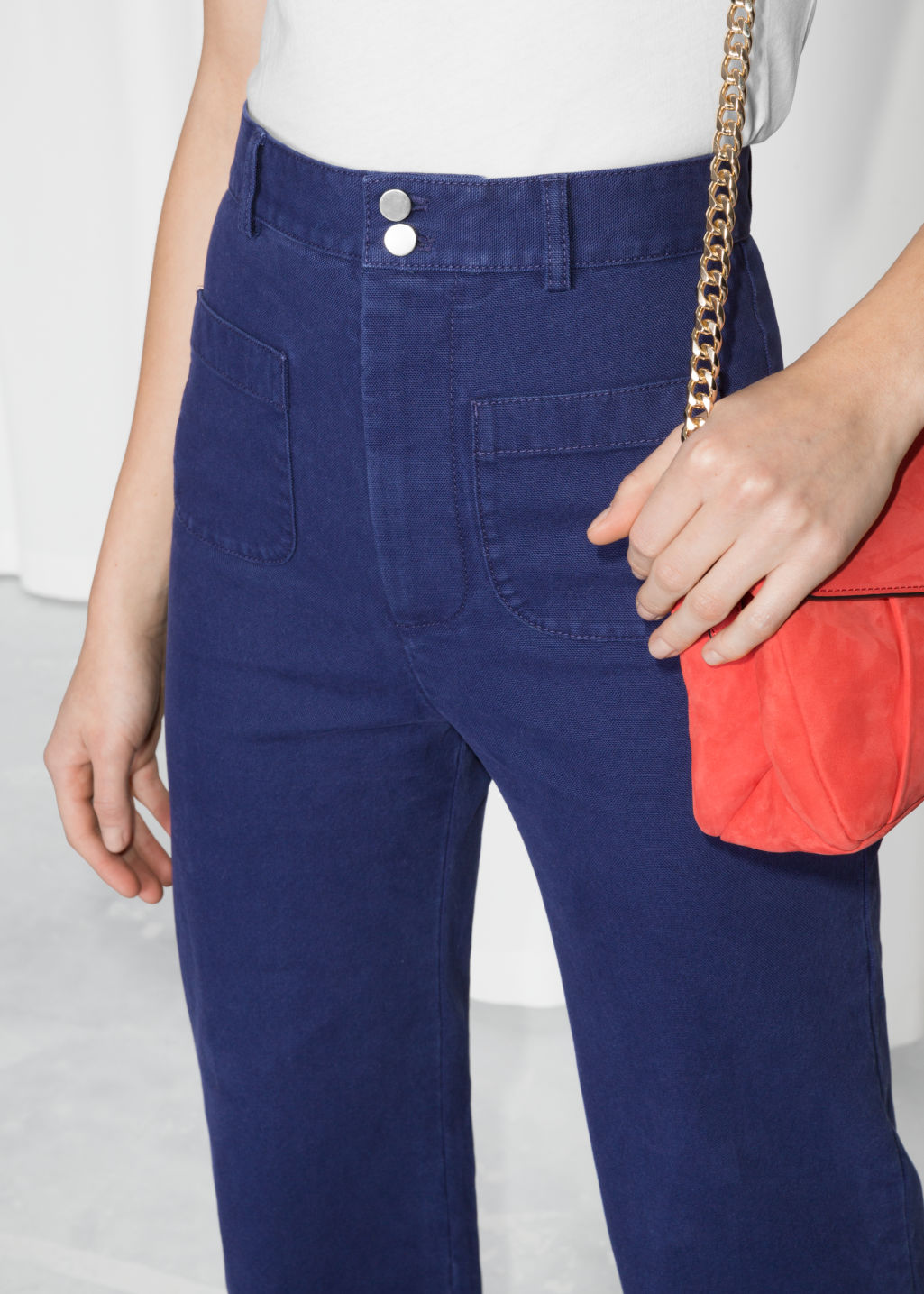 Detailed image of Stories high waisted twill trousers in blue