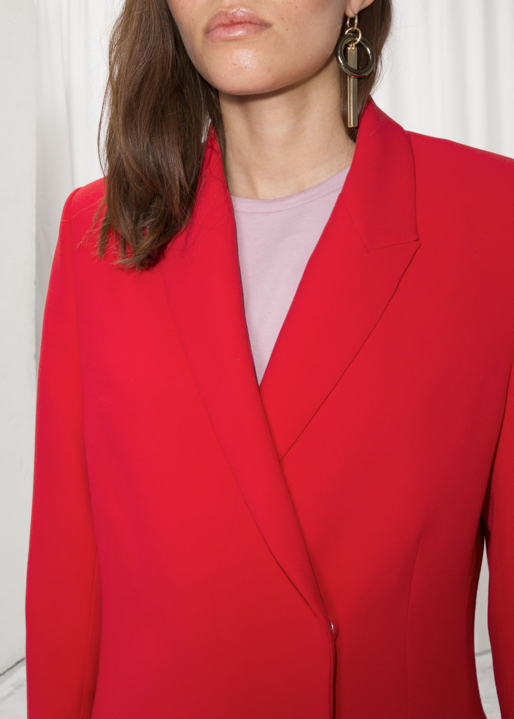 Detailed image of Stories straight fit blazer  in red
