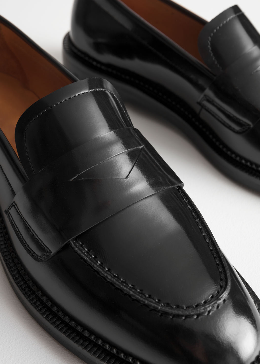 Detailed image of Stories round toe loafer in black