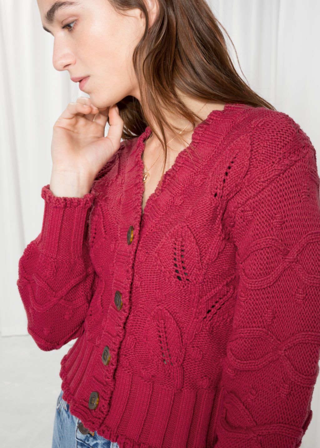 Detailed image of Stories chunky knit cardigan in red