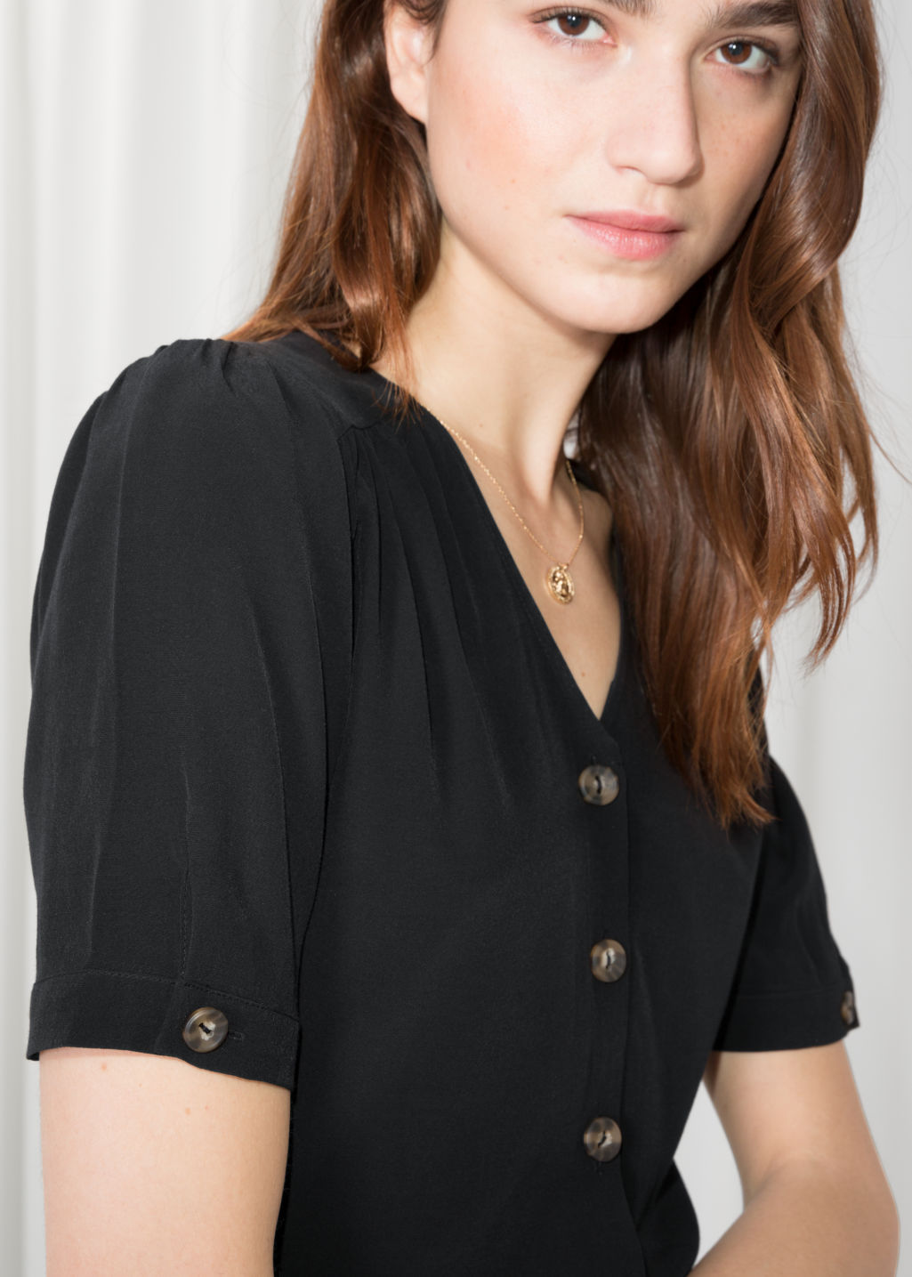 Detailed image of Stories button down blouse  in black