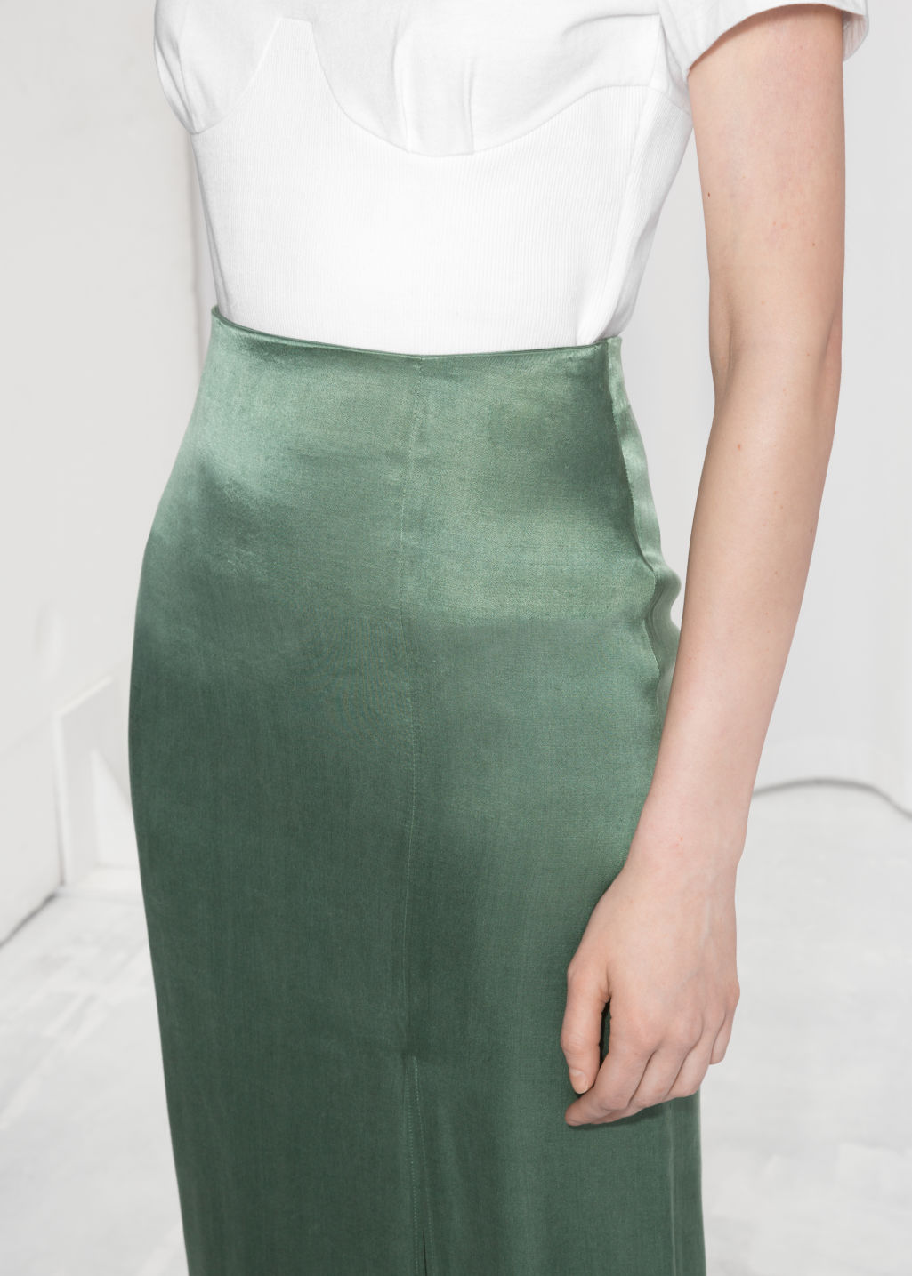 Detailed image of Stories side slit midi skirt in green