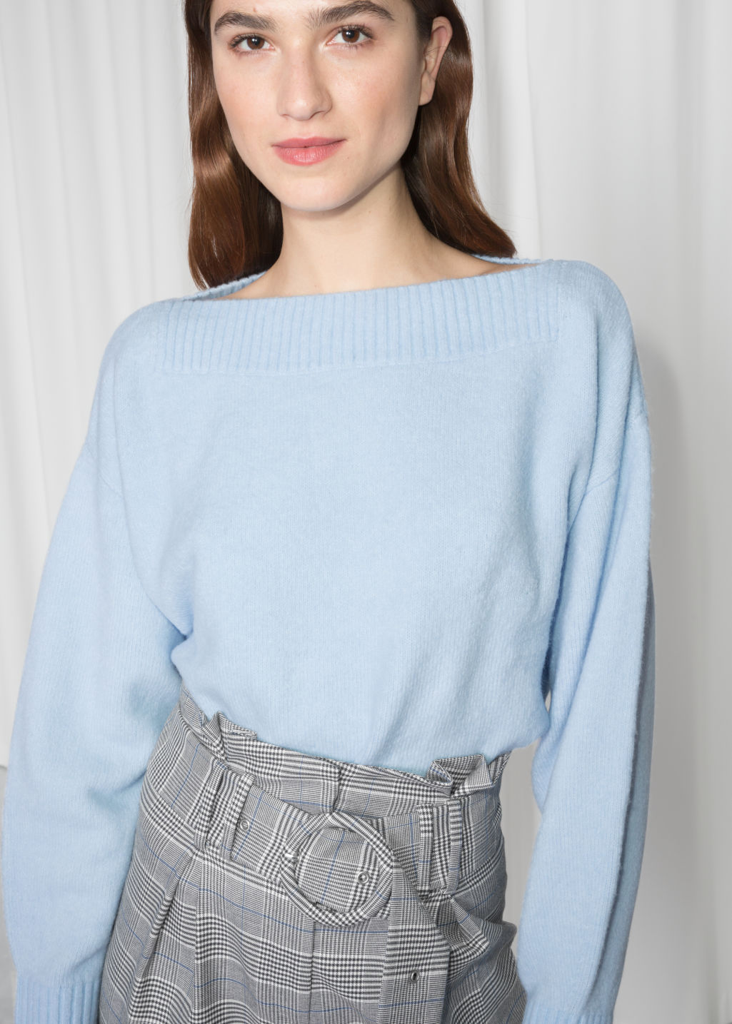 Detailed image of Stories cropped boatneck sweater in blue