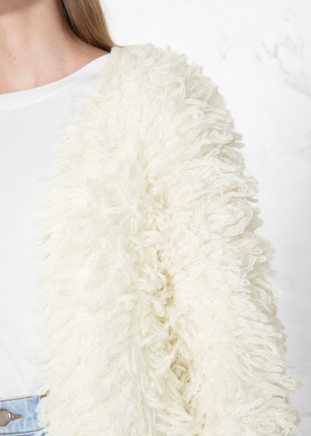 Detailed image of Stories shaggy cardigan in white