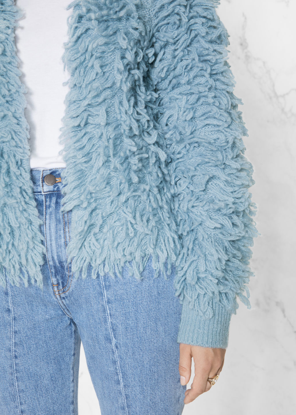 Detailed image of Stories shaggy cardigan in blue