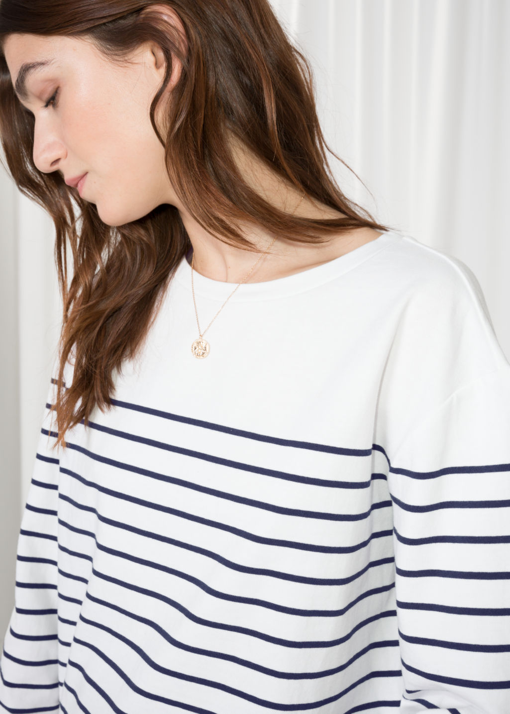 Detailed image of Stories striped shirt in white