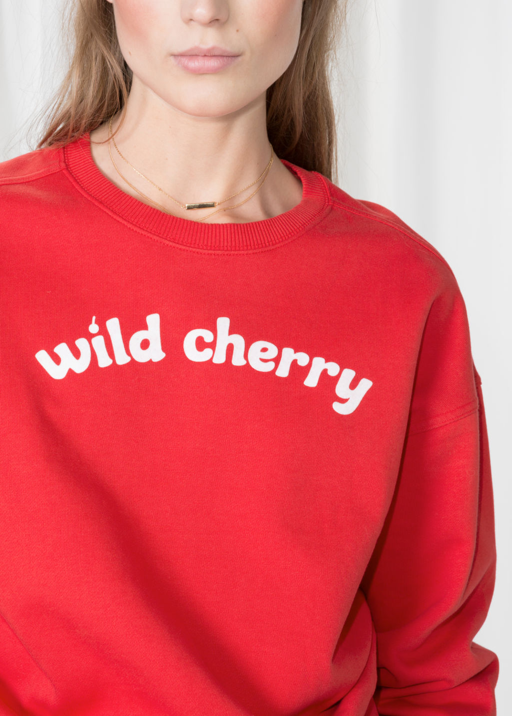 Detailed image of Stories wild cherry pullover in red