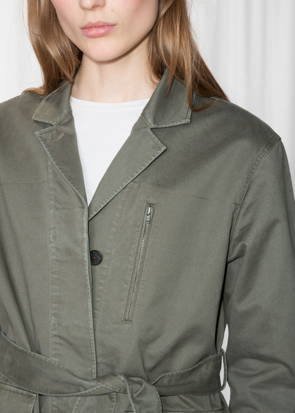 Detailed image of Stories belted army jacket in green