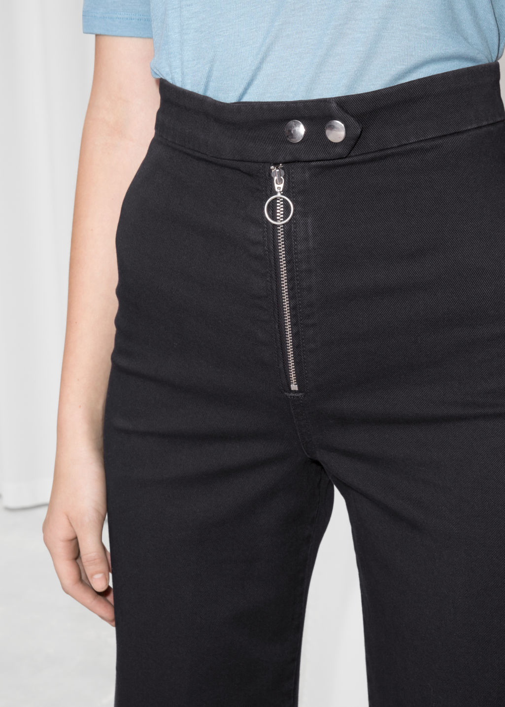 Detailed image of Stories faded denim culottes  in black