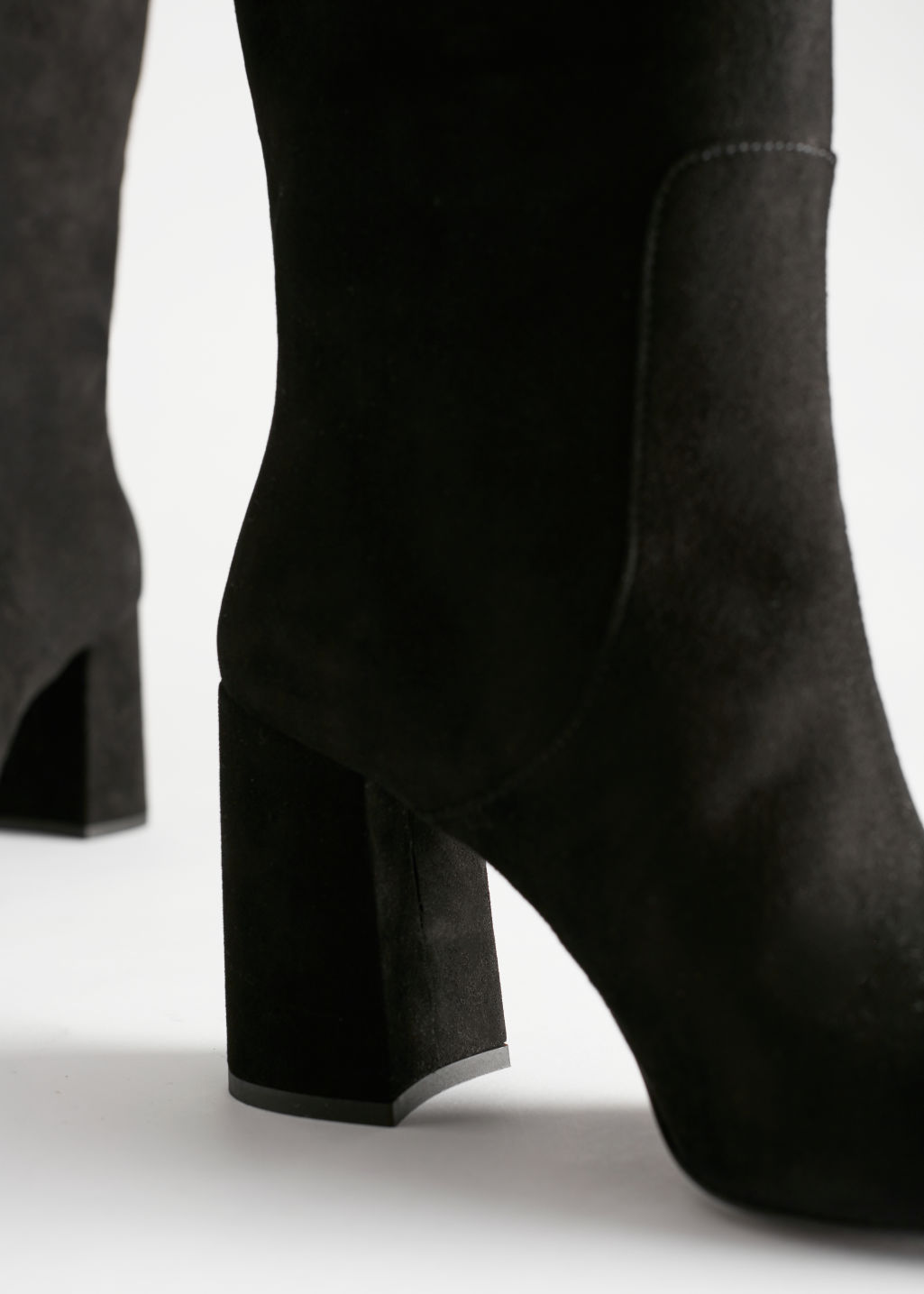 Detailed image of Stories knee high suede boots in black