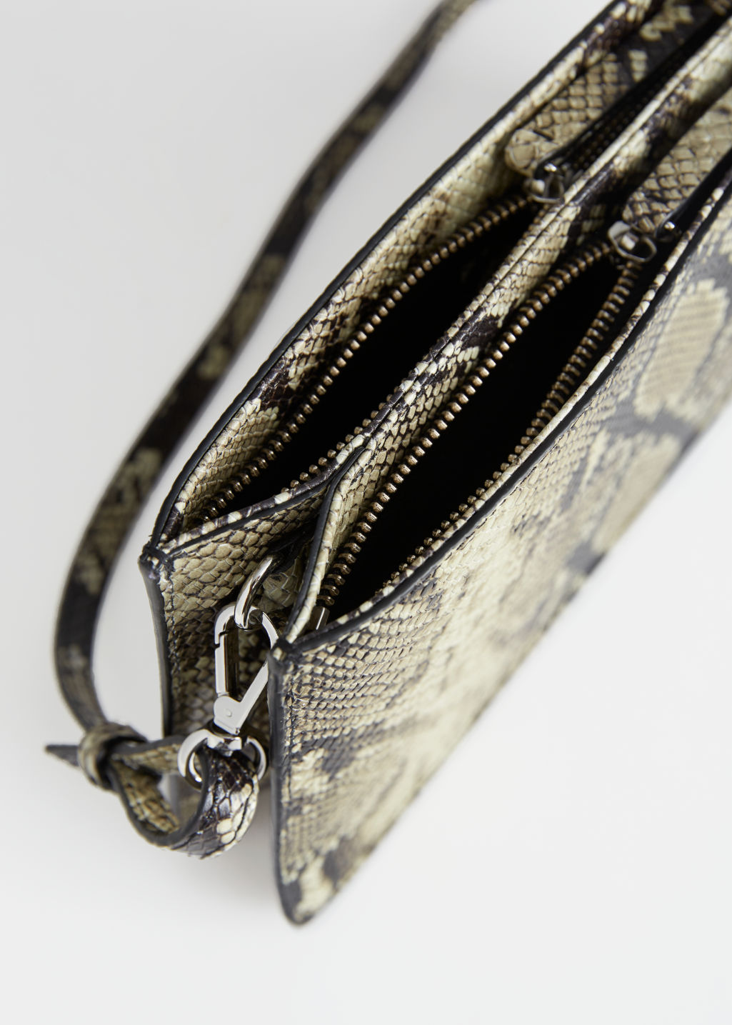 Detailed image of Stories leather croc baguette in beige